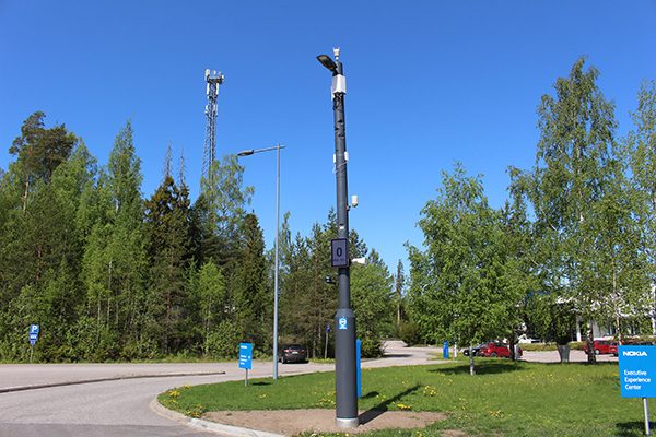 A smart pole on the Kera route in Espoo
